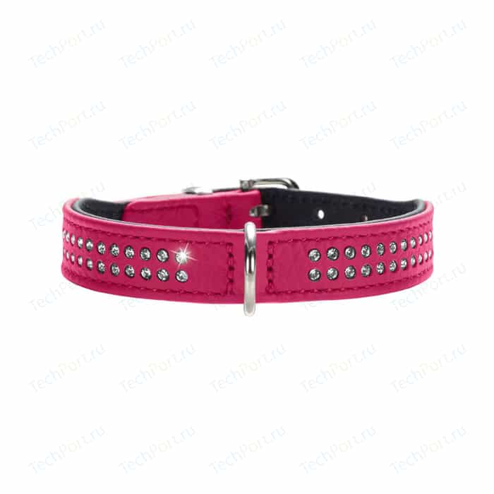 Ошейник Hunter Collar Diamond Petit 27 nickel-plated (20-24см) кожа 2 ряда страз розовый для собак