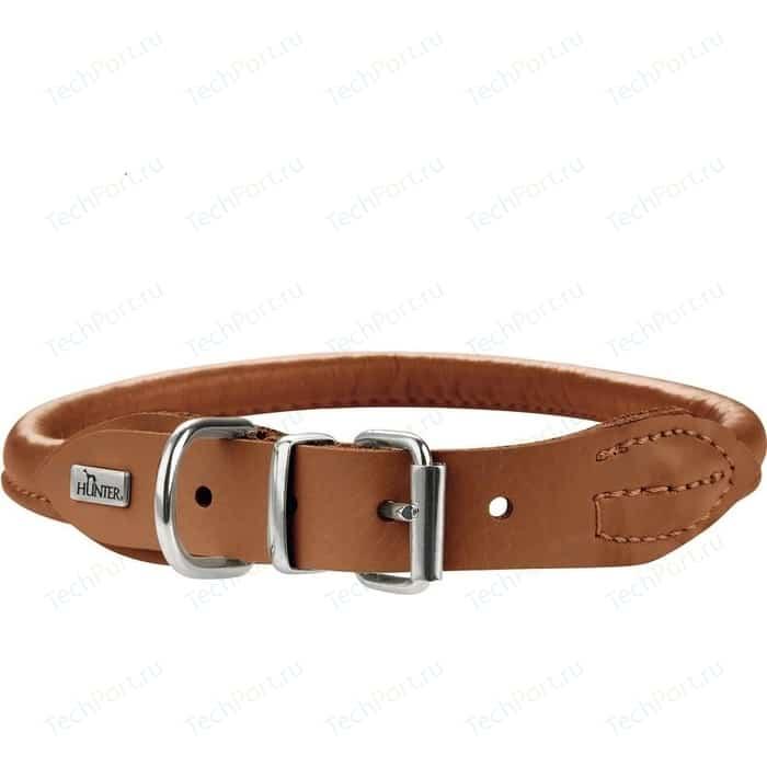 Ошейник Hunter Collar Round & Soft Petit Elk 32/6 nickel (24-27см) кожа лося коньячный для собак