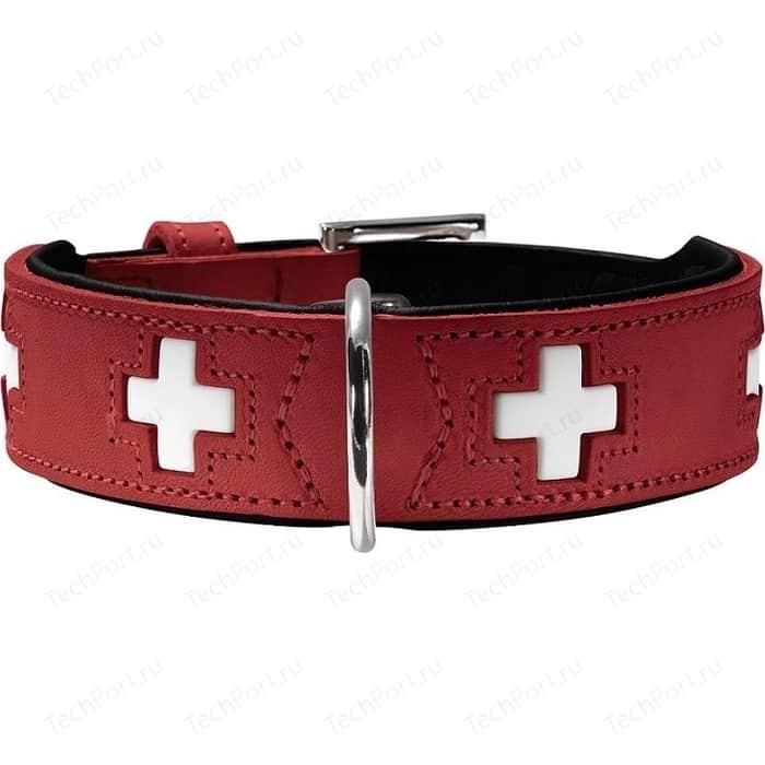 Ошейник Hunter Collar Swiss 42 (35-39,5см) кожа красный/черный для собак
