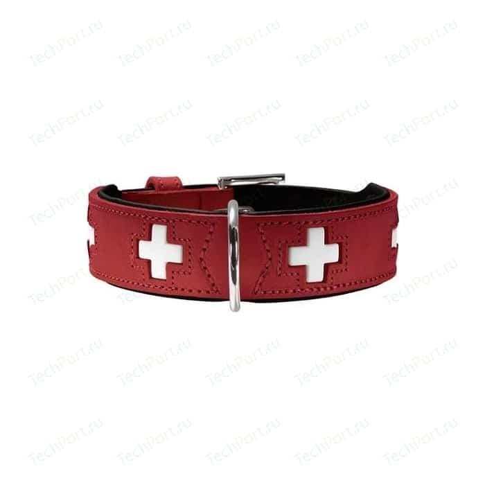 Ошейник Hunter Collar Swiss 60 (47-54см) кожа красный/черный для собак