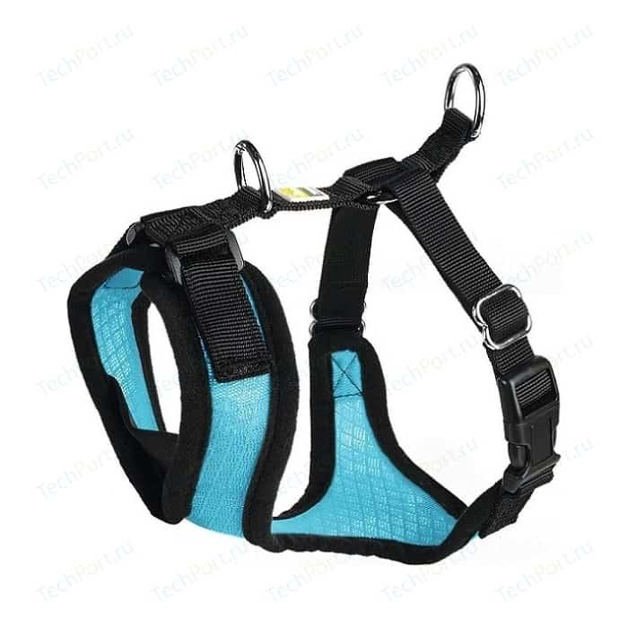 Шлейка Hunter Harness Manoa S (38-47см) нейлон/сетчатый текстиль голубая для собак