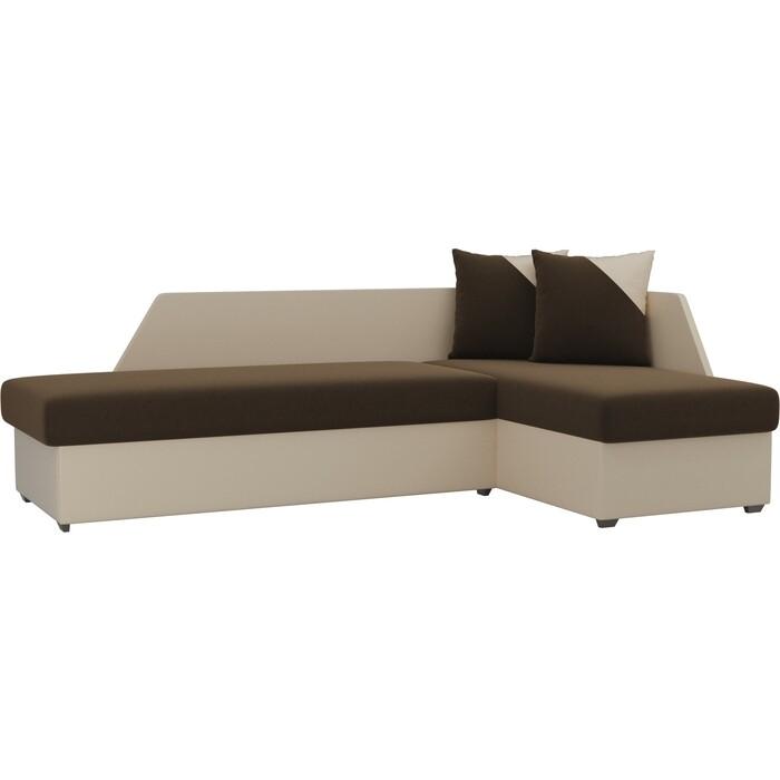 Угловой диван АртМебель Андора микровельвет коричневый+экокожа бежевый правый