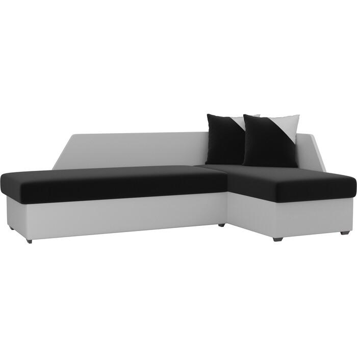 Угловой диван АртМебель Андора микровельвет черный+экокожа белый правый