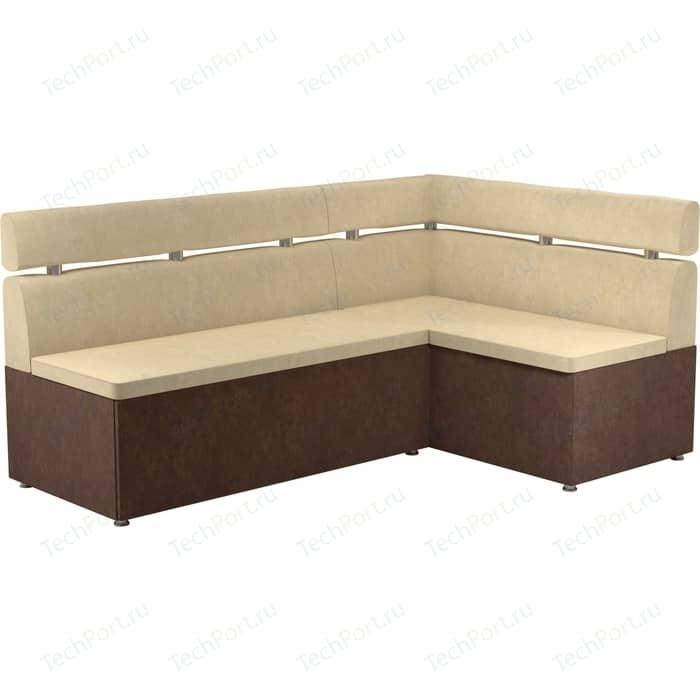 Кухонный угловой диван Мебелико Классик микровельвет бежево/коричневый правый