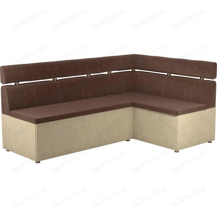 Кухонный угловой диван АртМебель Классик микровельвет коричнево/бежевый правый