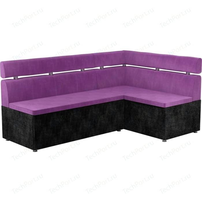 Кухонный угловой диван Мебелико Классик микровельвет фиолетово/черный правый