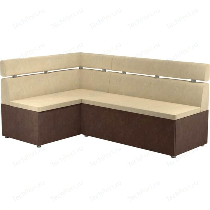 Кухонный угловой диван АртМебель Классик микровельвет бежево/коричневый левый
