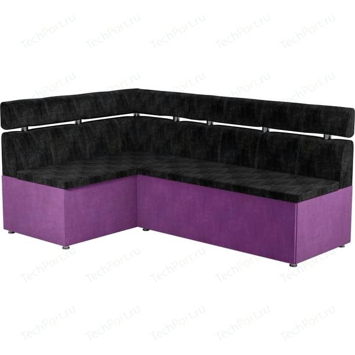 Кухонный угловой диван АртМебель Классик микровельвет черно/фиолетовый левый