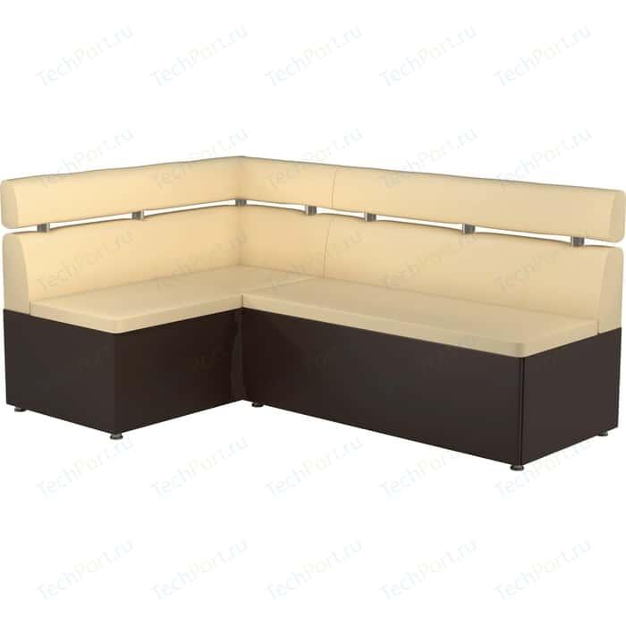 Фото - Кухонный угловой диван АртМебель Классик эко-кожа бежево/коричневый левый кухонный диван артмебель классик эко кожа бежево коричневый