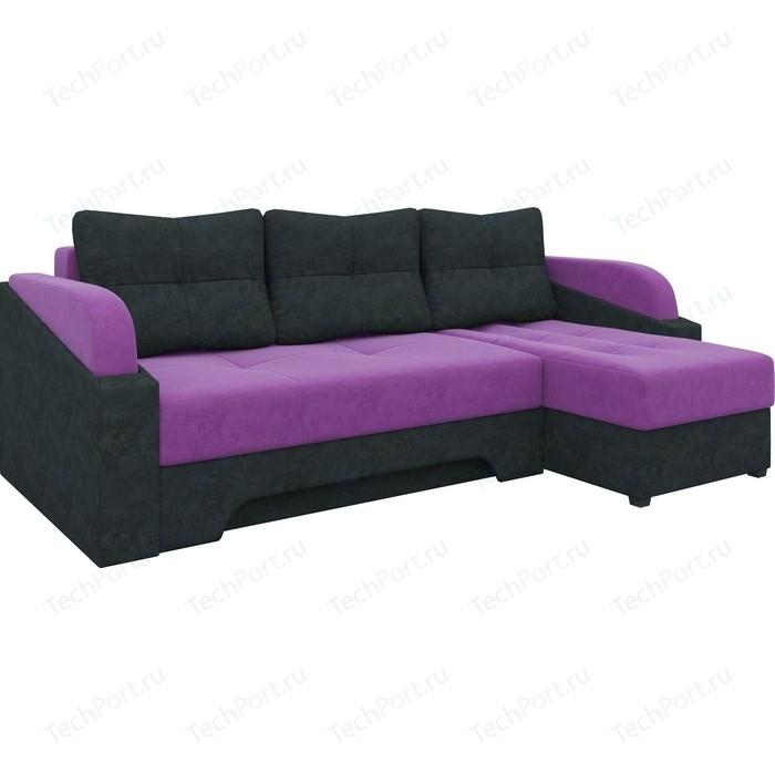 Угловой диван АртМебель Панда микровельет фиолетово/черный правый