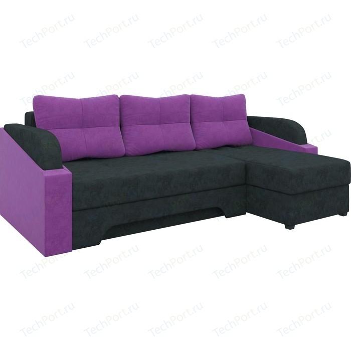 Угловой диван АртМебель Панда микровельет черно/фиолетовый правый