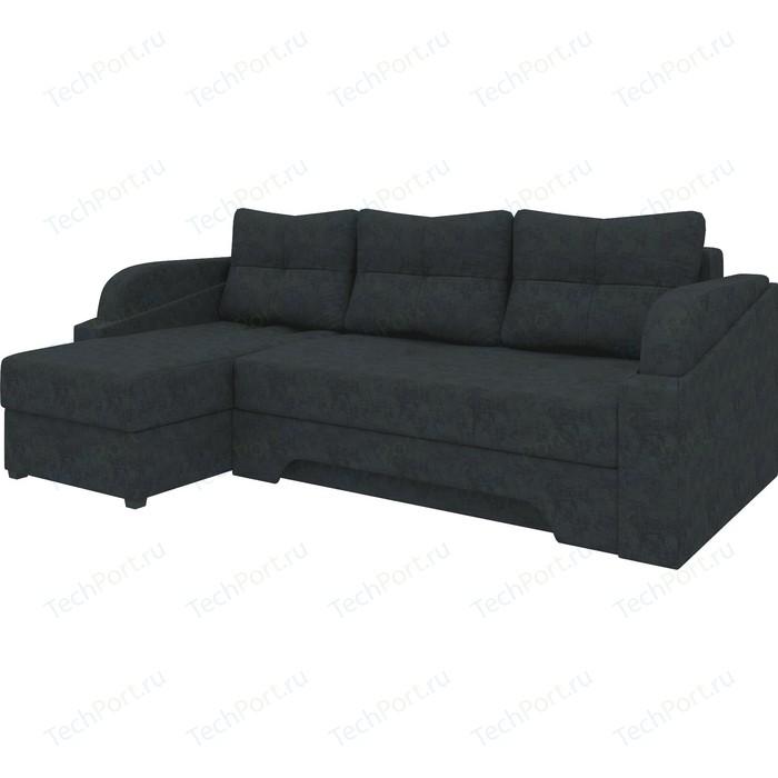 Угловой диван АртМебель Панда микровельет черный левый