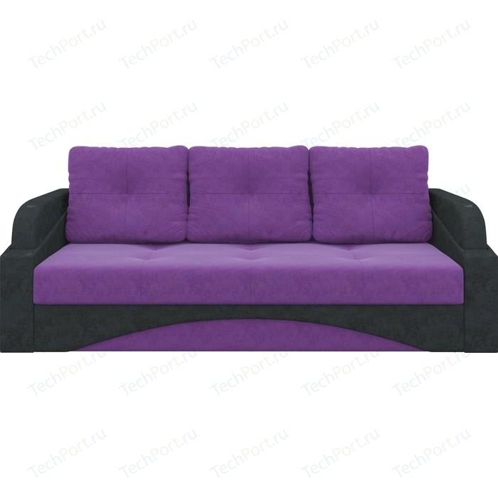 Диван-еврокнижка АртМебель Панда микровельвет фиолетово/черный
