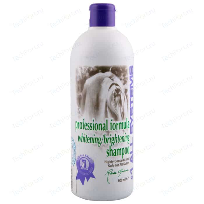 Шампунь 1 All Systems Professional Formula Whitening / Brightening Shampoo отбеливающий для яркости окраса шерсти кошек и собак 250мл