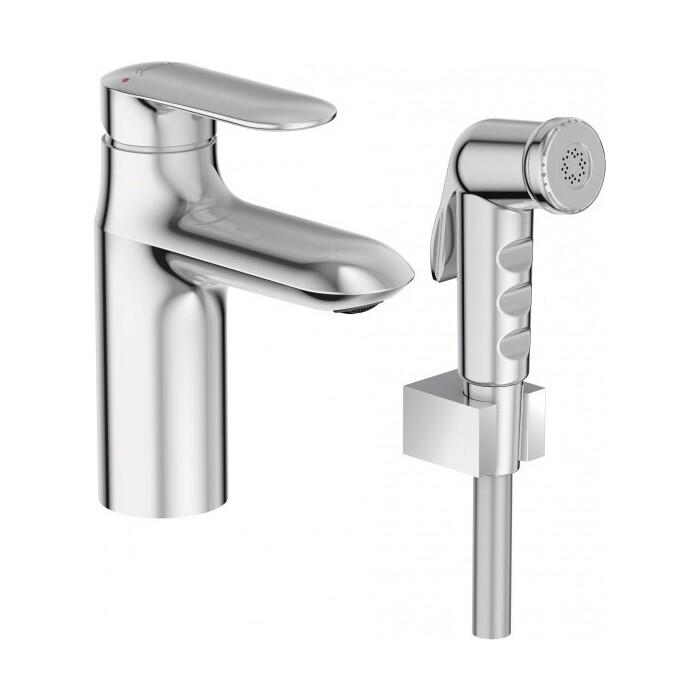 Смеситель для раковины Jacob Delafon Kumin с гигиеническим душем и донным клапаном (E99465-CP)