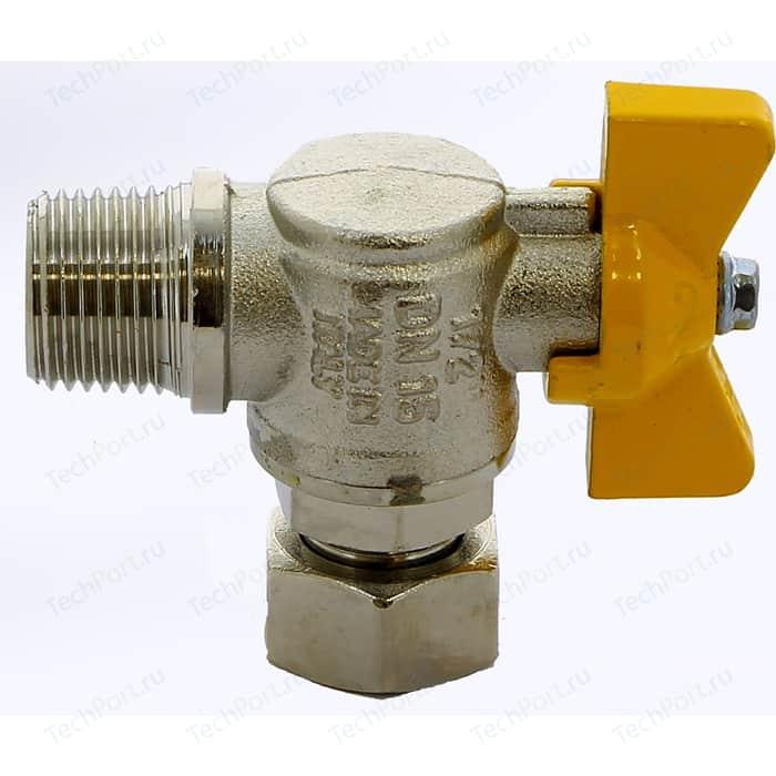 Кран шаровый ITAP газовый угловой 1/2 НР/ВР с накидной гайкой (062 1/2)