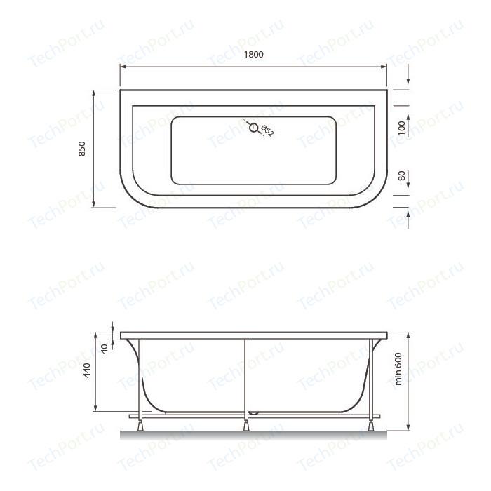 Акриловая ванна Vayer Options BTW 180x85 (Гл000006810)