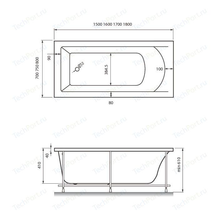 Акриловая ванна Vayer Savero 160x75 (Гл000011565)