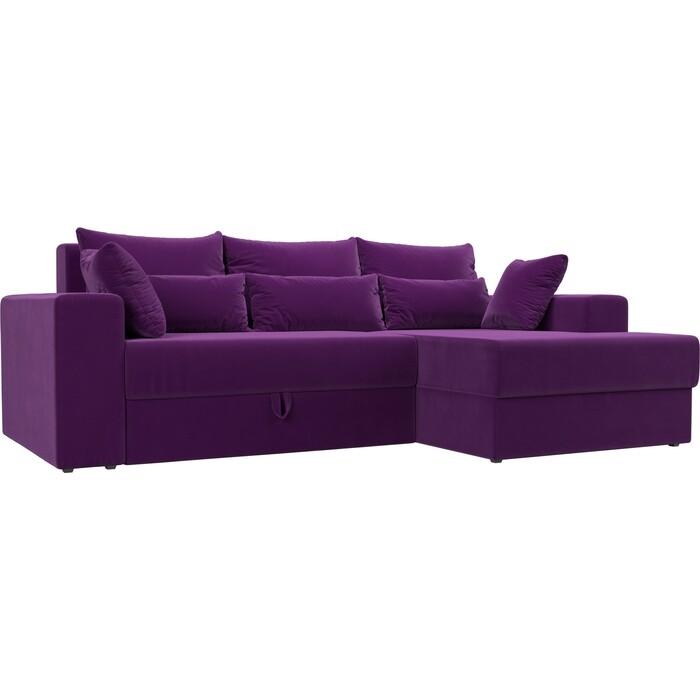 Угловой диван АртМебель Мэдисон микровельвет фиолетовый правый угол