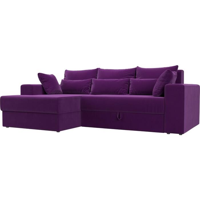 Угловой диван АртМебель Мэдисон микровельвет фиолетовый левый угол