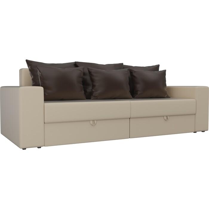 Диван-еврокнижка АртМебель Мэдисон эко-кожа бежевый подушки коричневые