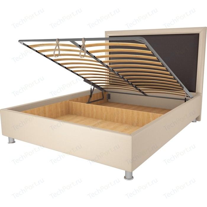 Кровать OrthoSleep Нью-Йорк бисквит-шоколад механизм и ящик 90х200