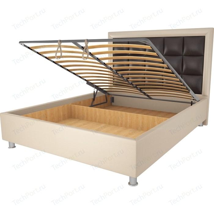 Кровать OrthoSleep Альба бисквит-шоколад механизм и ящик 200х200