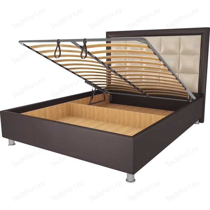 Кровать OrthoSleep Альба шоколад-бисквит механизм и ящик 120х200