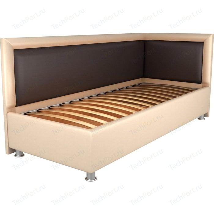Кровать OrthoSleep Барби бисквит-шоколад ортопед.основание 90х200 правый угол