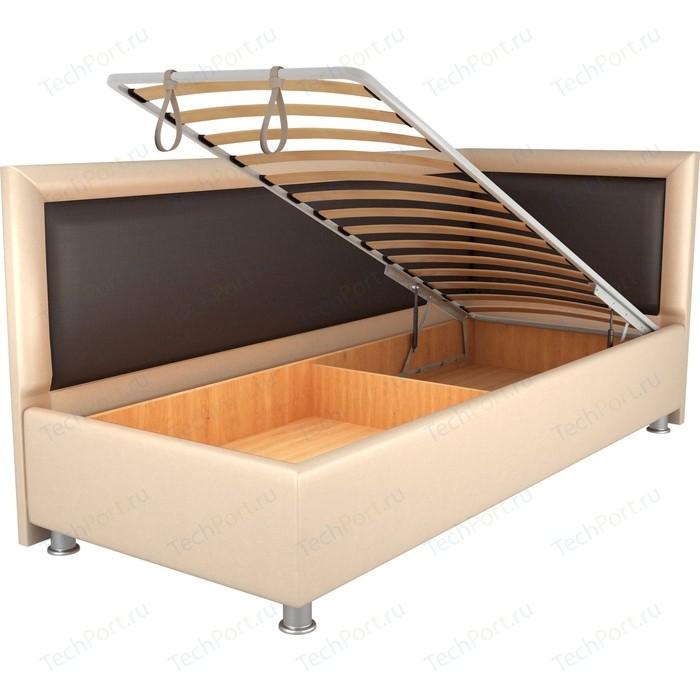 Кровать OrthoSleep Барби бисквит-шоколад механизм и ящик 80х200 правый угол