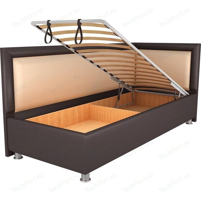 Кровать OrthoSleep Барби шоколад-бисквит механизм и ящик 80х200 правый угол