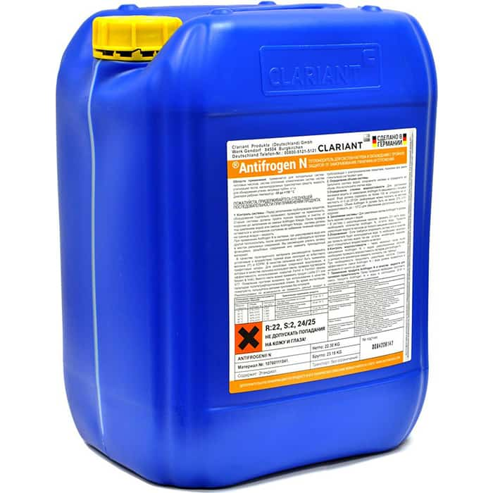 Теплоноситель Clariant для систем отопления Antifrogen N 22 кг желтый
