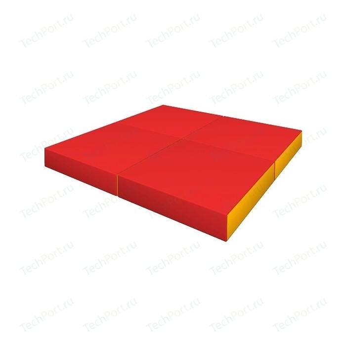 Мат КМС № 11 (100 x 100 10) складной красно-жёлтый