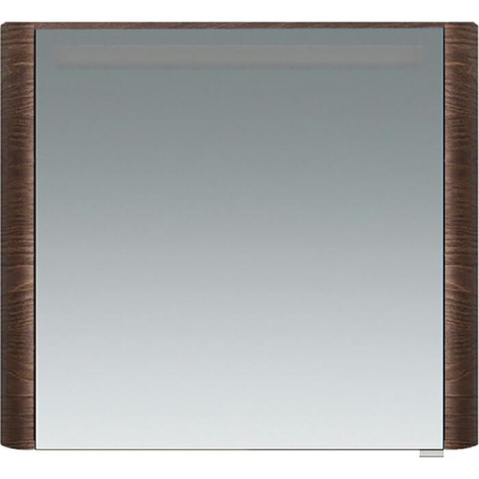 Зеркальный шкаф Am.Pm Sensation 80 левый, с подсветкой, табачный дуб (M30MCL0801TF) зеркальный шкаф am pm sensation 100 табачный дуб