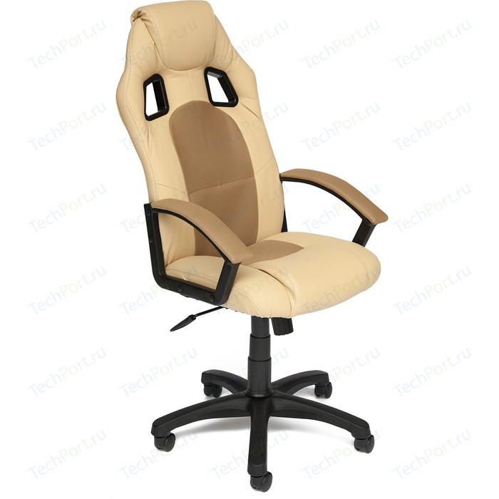 Кресло TetChair DRIVER кож/зам/ткань, бежевый/бронзозый, 36-34/21