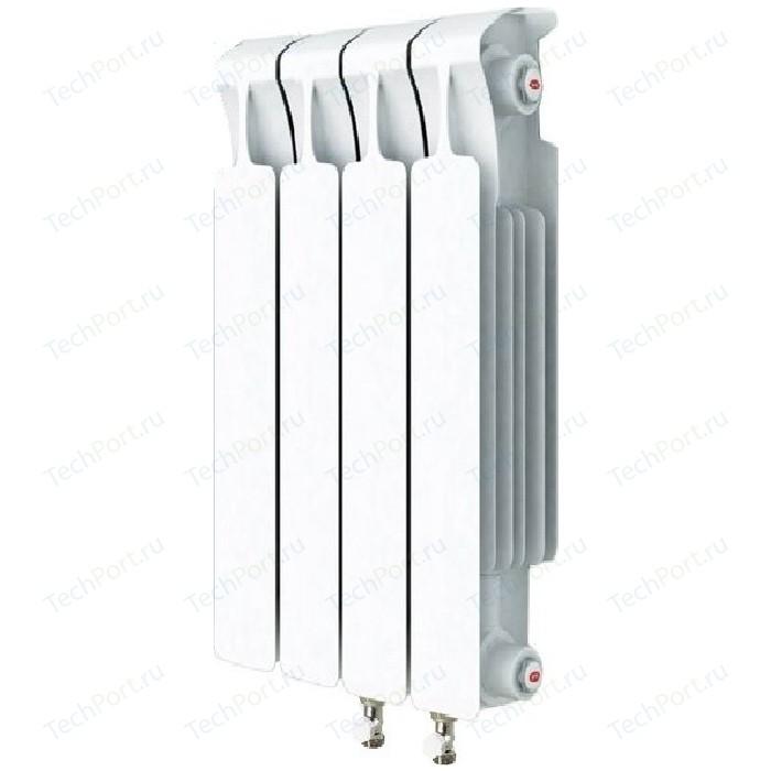 Радиатор отопления RIFAR MONOLIT VENTIL 500 4 секций биметаллический нижнее правое подключение (RM50004 НП50) радиатор отопления rifar monolit ventil 500 mvr 12 секций биметаллический нижнее правое подключение rm50012 нп50