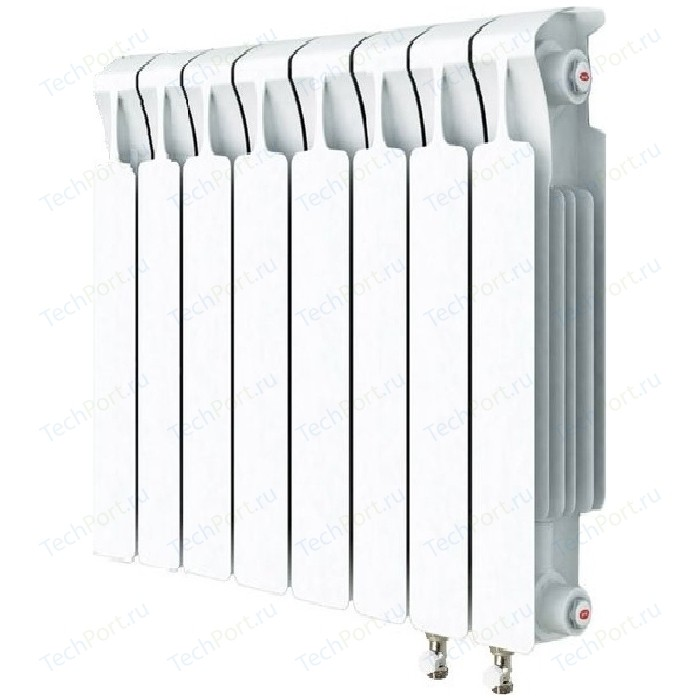 Радиатор отопления RIFAR MONOLIT VENTIL 500 8 секций биметаллический нижнее правое подключение (RM50008 НП50) радиатор отопления rifar monolit ventil 500 mvr 12 секций биметаллический нижнее правое подключение rm50012 нп50