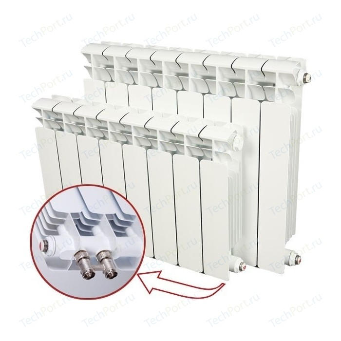 Радиатор отопления RIFAR BASE VENTIL 500 4 секции биметаллический нижнее правое подключение (R50004 НПП) биметаллический радиатор rifar рифар b 500 нп 10 сек лев кол во секций 10 мощность вт 2040 подключение левое