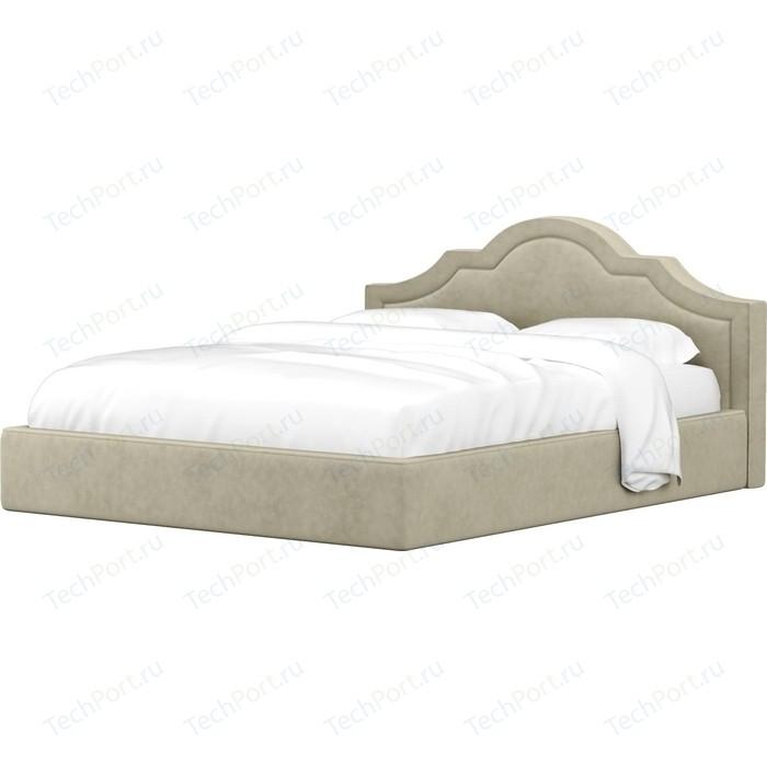Кровать Мебелико Афина микровельвет бежевый