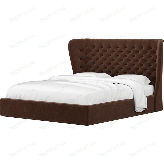 Кровать Мебелико Далия микровельвет коричневый