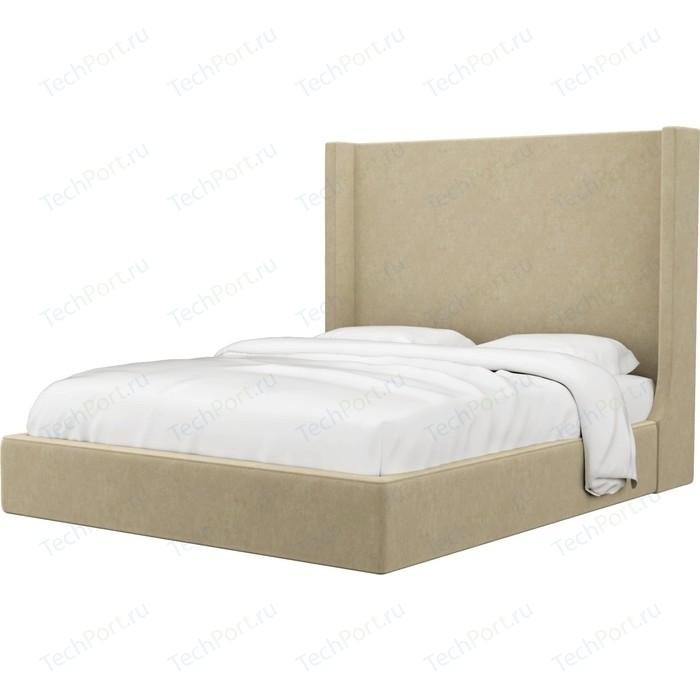 Кровать Мебелико Ларго микровельвет бежевый