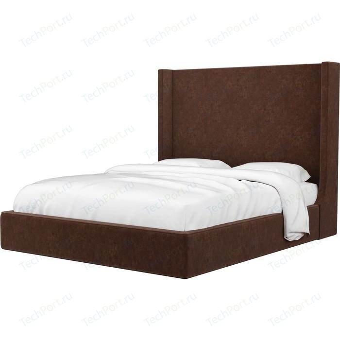 Кровать Мебелико Ларго микровельвет коричневый