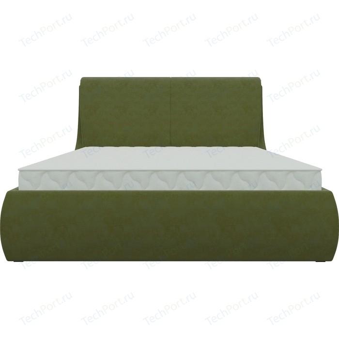 Кровать АртМебель Принцесса микровельвет зеленый