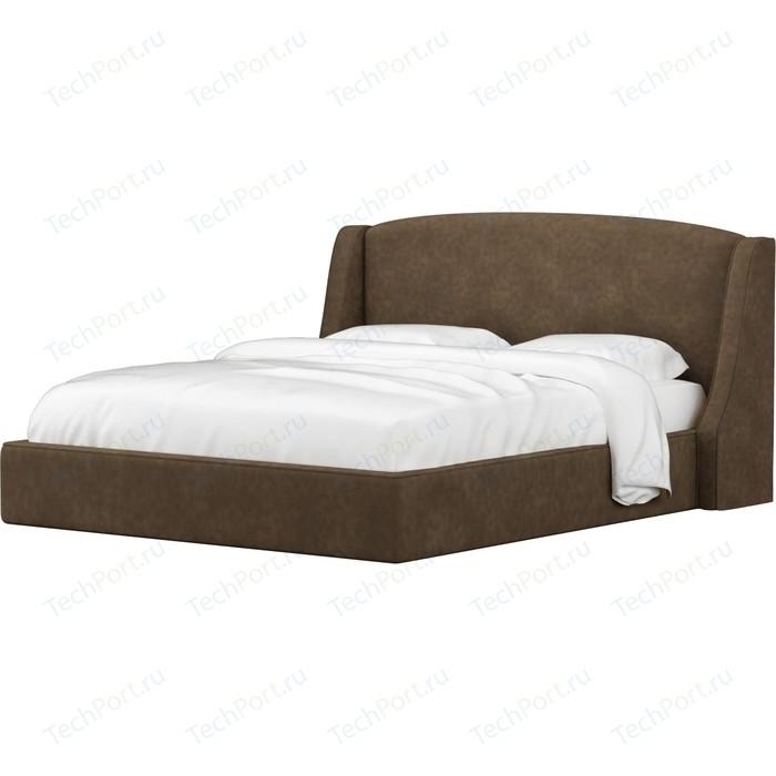 Кровать Мебелико Лотос микровельвет коричневый.