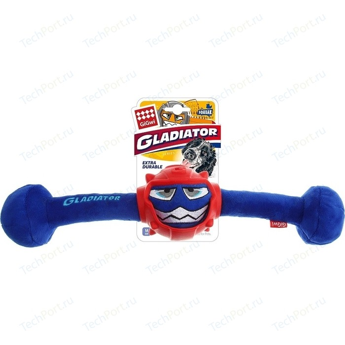 Игрушка GiGwi Dog Toys Squeak Gladiator гладиатор в резиновом шлеме- гантеля с пищалкой для собак (75442)