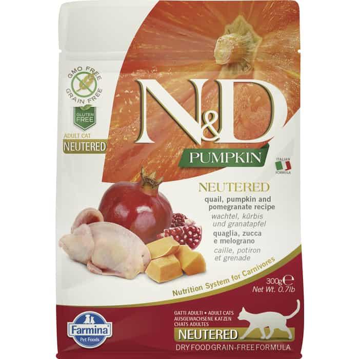 Сухой корм Farmina N&D Neutered Cat GF Pumpkin Quail & Pomegranate беззерновой с перепелкой гранатом тыквой для стерелизованных кошек 300г