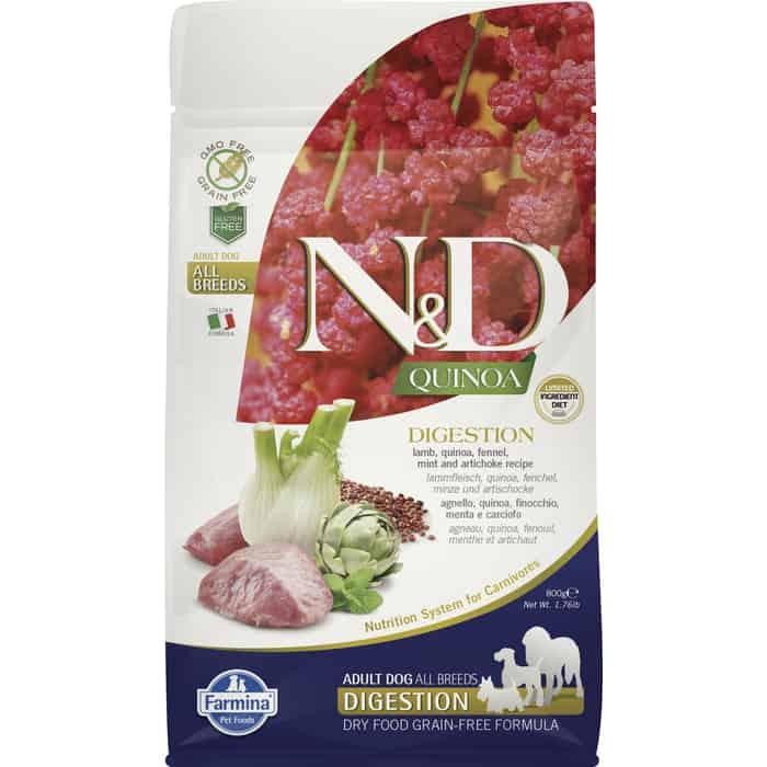 Сухой корм Farmina N&D Dog GF Quinoa Digestion Lamb Fennel &Mint беззерновой с ягненком киноа фенхелем и мятой здоровое пищеварение для собак 800г