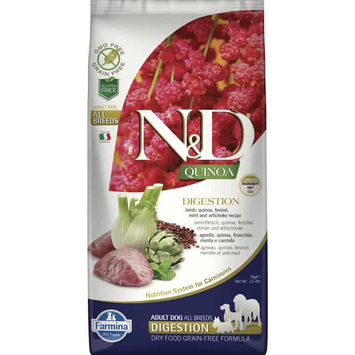 Сухой корм Farmina N&D Dog GF Quinoa Digestion Lamb Fennel &Mint беззерновой с ягненком киноа фенхелем и мятой здоровое пищеварение для собак 7кг