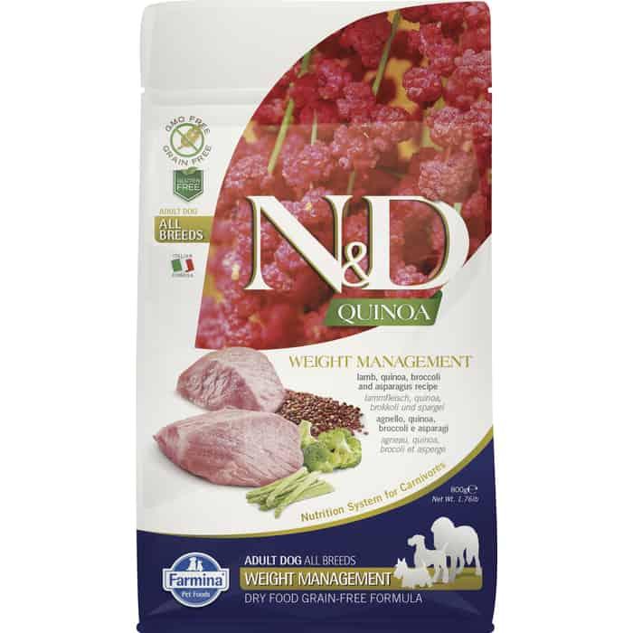 Сухой корм Farmina N&D Dog GF Quinoa Weight Management Lamb Broccoli & Asparagus беззерновой с ягненком киноа брокколи и спаржей для собак 800г
