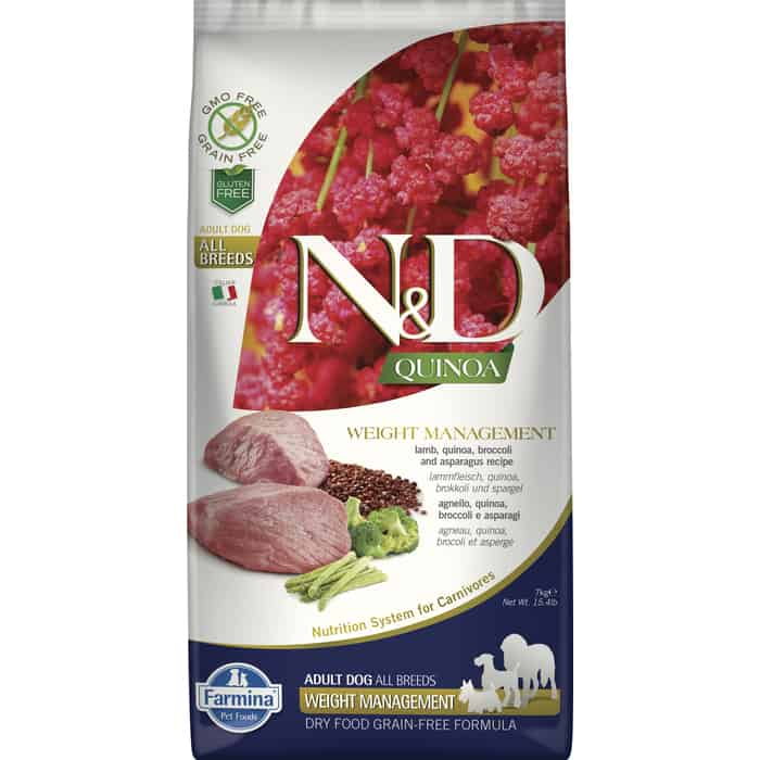 Сухой корм Farmina N&D Dog GF Quinoa Weight Management Lamb Broccoli & Asparagus беззерновой с ягненком киноа брокколи и спаржей для собак 7кг
